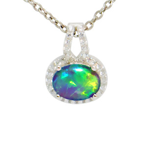 RICH EMBRACE STERLING SILVER AUSTRALIAN BLACK OPAL NECKLACE