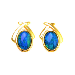 AQUARIUM VIEW 18KT GOLD PLATED AUSTRALIAN OPAL STUD EARRINGS