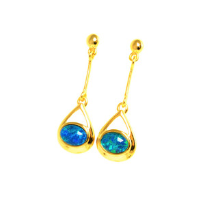 AMAZON WONDER 18KT GOLD PLATED NATURAL AUSTRALIAN OPAL EARRINGS