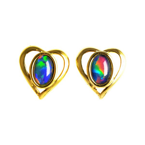 ABUNDANT LOVE 18KT GOLD PLATED AUSTRALIAN STUD OPAL EARRINGS