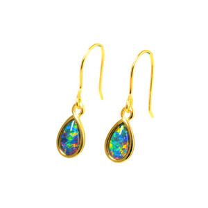 RAINBOW DROP 18KT GOLD PLATED AUSTRALIAN OPAL DROP EARRINGS