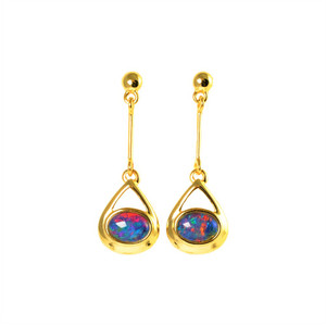 CANDY DROP 18KT GOLD PLATED NATURAL AUSTRALIAN OPAL DROP EARRINGS