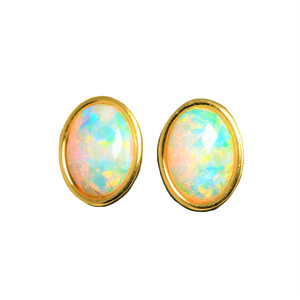 SUNRISE SURPRISE 18KT GOLD PLATED NATURAL WHITE AUSTRALIAN OPAL EARRINGS