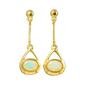 CANDY DROP 18KT GOLD PLATED NATURAL AUSTRALIAN WHITE OPAL DROP EARRINGS