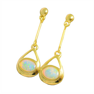1 SUNSET DROP 18KT GOLD PLATED NATURAL AUSTRALIAN WHITE OPAL DROP EARRINGS
