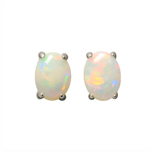 RAINBOW SPLASH STERLING SILVER NATURAL WHITE AUSTRALIAN OPAL STUD EARRINGS