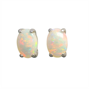 MIRROR DROP STERLING SILVER NATURAL WHITE AUSTRALIAN OPAL STUD EARRINGS