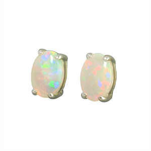 BRILLIANT FIRE STERLING SILVER NATURAL WHITE AUSTRALIAN OPAL STUD EARRINGS