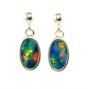 AMAZING GRACE STERLING SILVER AUSTRALIAN OPAL EARRINGS