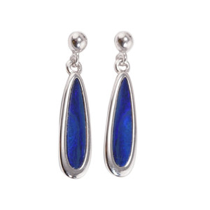 BLUE ORBITAL DANCE STERLING SILVER AUSTRALIAN OPAL EARRINGS