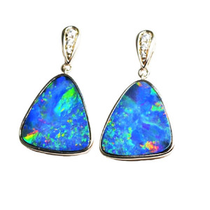 1 CANDY LAND LANE STERLING SILVER AUSTRALIAN OPAL EARRINGS (2)