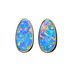 PARADISE ISLAND LANE  STERLING SILVER AUSTRALIAN OPAL STUD EARRINGS