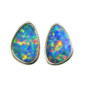 FLORIDA ESCAPE LANE  STERLING SILVER  AUSTRALIAN OPAL STUD EARRINGS
