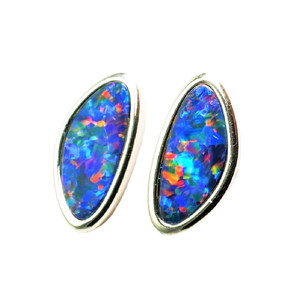 FIJI ADVENTURE  STERLING SILVER  AUSTRALIAN OPAL STUD EARRINGS