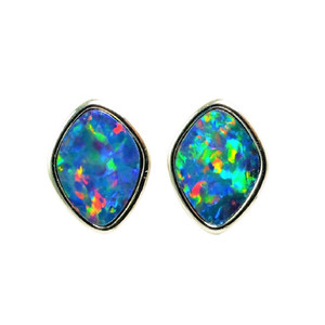MAUI ESCAPE  STERLING SILVER  AUSTRALIAN OPAL STUD EARRINGS