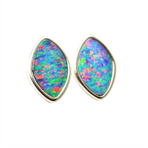 ENCHANTED LAND  STERLING SILVER AUSTRALIAN OPAL STUD EARRINGS