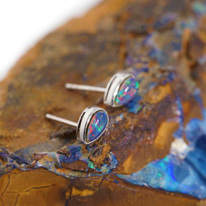 BULA ADVENTURE  STERLING SILVER  AUSTRALIAN OPAL STUD EARRINGS