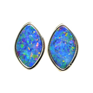 BAHAMAS ADVENTURE STERLING SILVER AUSTRALIAN OPAL STUD EARRINGS