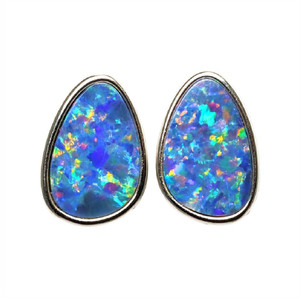 BEACH ADVENTURE STERLING SILVER AUSTRALIAN OPAL STUD EARRINGS