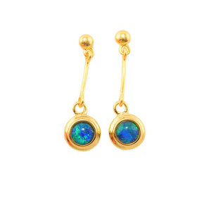 EARTHS MAJESTY 18KT GOLD PLATED AUSTRALIAN OPAL EARRINGS