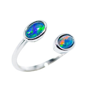 DOUBLE DUTCH FLASH STERLING SILVER AUSTRALIAN BLACK OPAL RING