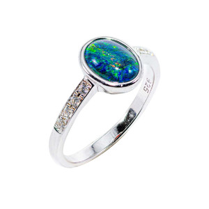 BLUE GREEN EXPLOSION STERLING SILVER AUSTRALIAN BLACK OPAL RING