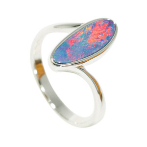 CLEAR BLUE SEA SUPRISE STERLING SILVER NATURAL AUSTRALIAN OPAL RING