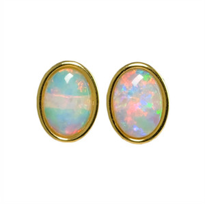 RAINBOW SPLASH 18KT GOLD PLATED NATURAL WHITE AUSTRALIAN OPAL STUD EARRINGS