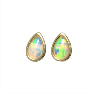 MIRROR DROP 14KT GOLD PLATED NATURAL WHITE AUSTRALIAN OPAL STUD EARRINGS