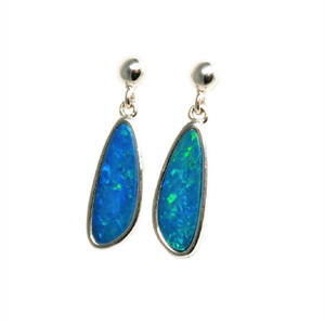 MOONLIGHT STAY STERLING SILVER AUSTRALIAN OPAL EARRINGS