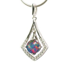 1 DIAMOND DYNASTY STERLING SILVER AUSTRALIAN OPAL NECKLACE