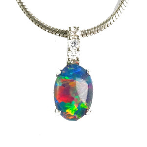 ABUNDANT JOY STERLING SILVER NATURAL AUSTRALIAN OPAL NECKLACE