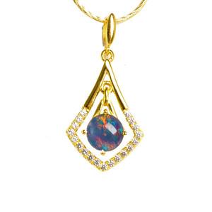 DIAMOND DYNASTY 18 KT GOLD PLATED AUSTRALIAN OPAL NECKLACE