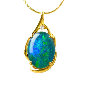 ELECTRIC MOUNTAIN 18KT GOLD PLATED AUSTRALIAN BLACK OPAL NECKLACE
