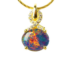 1 RICH RAINBOW 18kt GOLD PLATED AUSTRALIAN BLACK OPAL NECKLACE