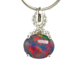1 RICH RAINBOW STERLING SILVER AUSTRALIAN BLACK OPAL NECKLACE