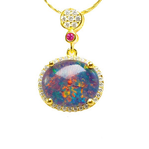 ALWAYS BRILLIANT 18KT GOLD PLATED AUSTRALIAN BLACK OPAL NECKLACE