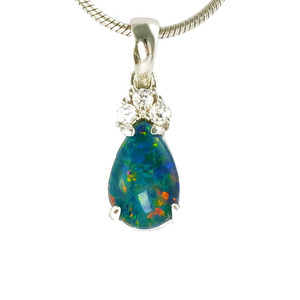 BRILLIANT GARDEN SPLASH STERLING SILVER AUSTRALIAN BLACK OPAL NECKLACE (2)