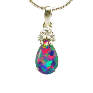 ALLURING OPAL ABYSS  STERLING SILVER BLACK AUSTRALIAN OPAL NECKLACE (2)
