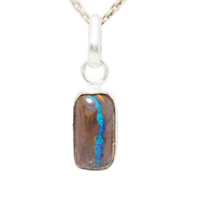 BLUE LAGOON STERLING SILVER SOLID AUSTRALIAN OPAL NECKLACE