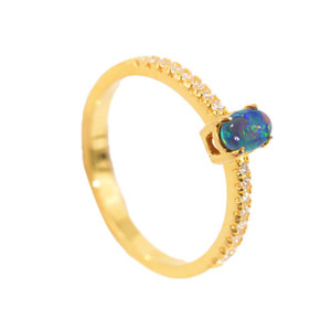 OCEAN FLAME 18KT GOLD PLATED AUSTRALIAN BLACK OPAL RING