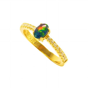 BRIGHT RED FIRE 18KT GOLD PLATED AUSTRALIAN BLACK OPAL RING