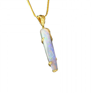 OPALIZED ANCIENT SEA 18KT GOLD SOLID AUSTRALIAN OPAL BELEMNITE NECKLACE (OPALIZED SQUID) 1