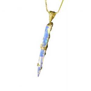 OPALIZED ANCIENT SEA 18KT GOLD SOLID AUSTRALIAN OPAL BELEMNITE NECKLACE (OPALIZED SQUID) 2