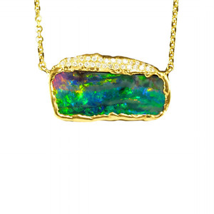 LIA'S MAGESTY 18KT  GOLD & DIAMOND NATURAL AUSTRALIAN BLACK BOULDER OPAL NECKLACE