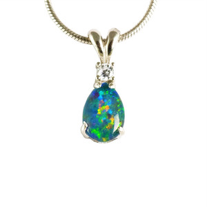 APRIL'S RAINBOW RIDE STERLING SILVER AUSTRALIAN OPAL NECKLACE