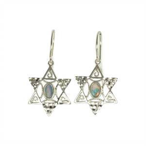 KOHAVI'S SURPRISE  STERLING SILVER AUSTRALIAN OPAL EARRINGS