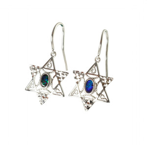KOHAVI'S ENCHANTED GARDEN  STERLING SILVER AUSTRALIAN OPAL EARRINGS