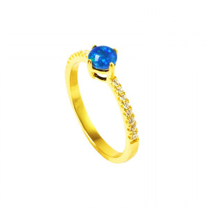 NYC ANGEL 18KT GOLD PLATED AUSTRALIAN BLACK OPAL RING