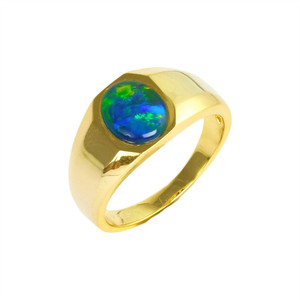 ELECTRIC FOREST 18KT GOLD PLATED AUSTRALIAN BLACK OPAL MEN'S RING